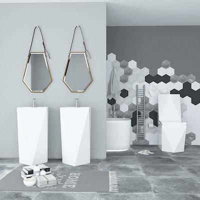 洗手台, 镜, 坐厕, 浴缸, 北欧卫浴组合, 北欧