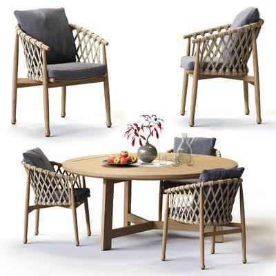 现代, 休闲椅, 茶几, 组合