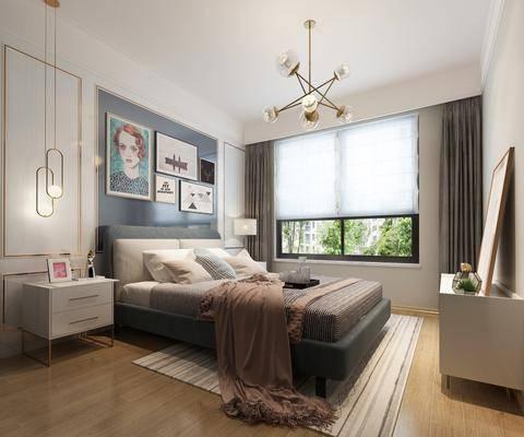 现代, 卧室, 双人床, 边柜, 台灯, 吊灯, 挂画, 边几