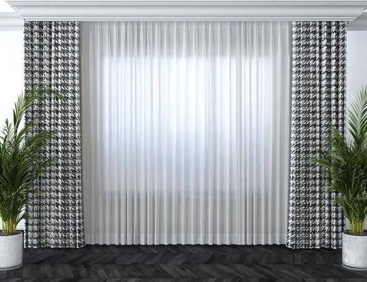 窗帘, 布艺窗帘, 盆栽植物