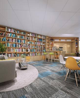 书柜, 书籍, 桌椅组合, 沙发组合, 茶几
