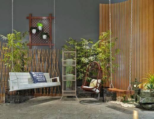 竹子, 景观小品, 吊椅, 单椅