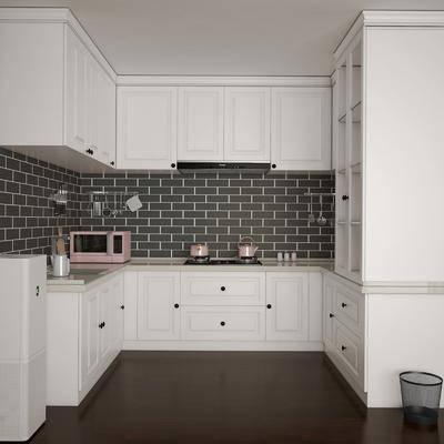 简欧厨房, 厨房, 橱柜, 灶台, 微波炉, 餐具, 厨具
