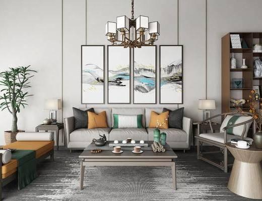 新中式, 中式, 沙发组合, 沙发茶几组合, 吊灯, 装饰柜, 置物柜, 陈设品, 盆栽, 装饰画, 挂画, 边几, 台灯