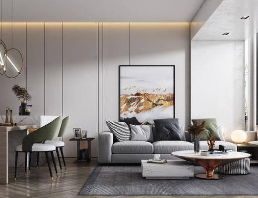 沙發組合, 茶幾, 裝飾畫, 桌椅組合, 吊燈