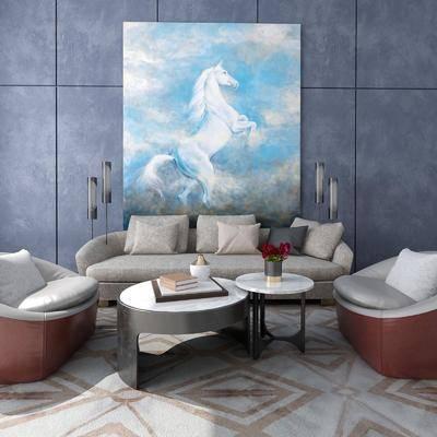 沙发组合, 多人沙发, 茶几, 单人沙发, 动物画, 装饰画, 挂画, 吊灯, 花瓶花卉, 现代
