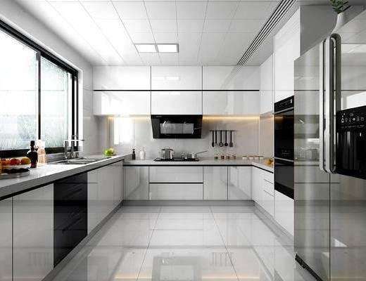 厨房, 橱柜, 洗手台, 水果, 摆件, 冰箱, 微波炉, 现代, 厨柜