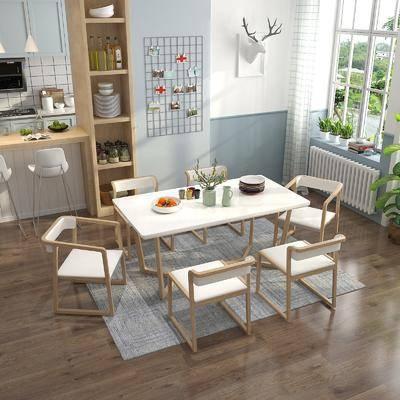 北歐餐廳, 餐桌, 椅子, 餐桌椅組合, 餐廳, 儲物柜, 擺件
