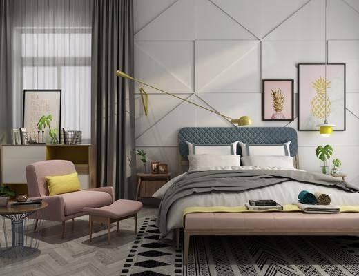床具组合, 双人床, 床尾凳, 单人沙发, 凳子, 装饰画, 边柜, 现代
