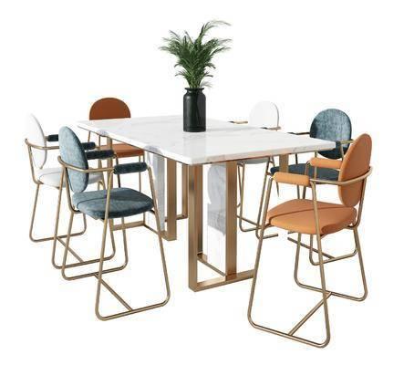 现代金属大理石休闲桌椅组合