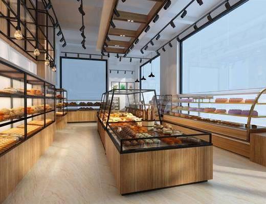 面包店, 甜品店, 食物, 展示柜, 现代