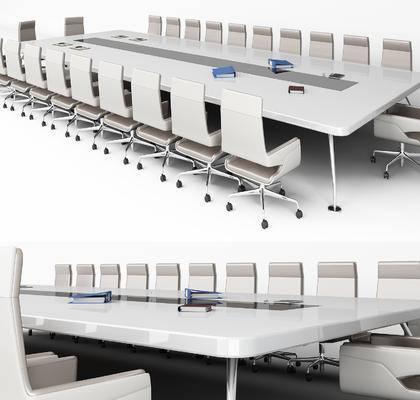 现代, 会议桌, 椅子, 单椅, 办公椅