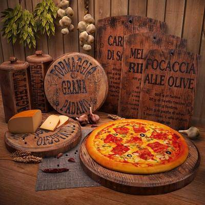 粘板, 披萨, 奶酪, 餐布, 食物, 现代