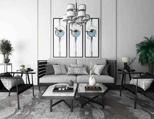 新中式, 沙发茶几组合, 沙发组合, 双人沙发, 装饰画, 挂画, 盆栽, 单椅, 椅子, 茶几, 边几, 中式