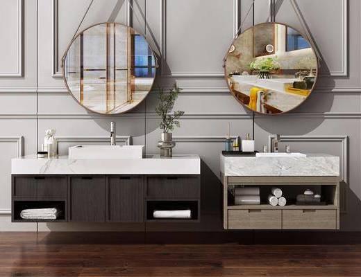 新中式, 卫浴组合, 洗手台, 卫生间
