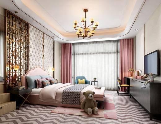 床, 吊灯, 茶几, 床头柜, 窗帘, 电视柜, 书桌, 隔断, 屏风
