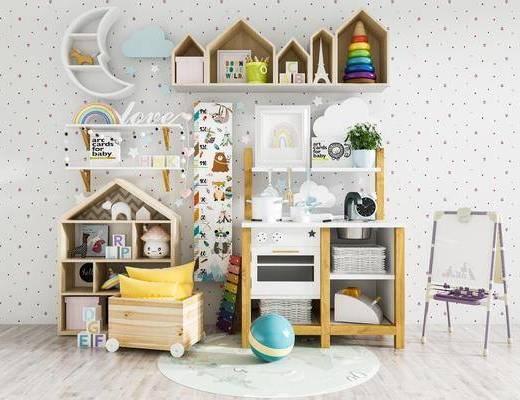 玩具, 置物柜, 书籍, 墙饰