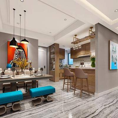 现代餐厅, 现代, 餐厅, 餐桌椅, 吧台, 装饰画, 厨房