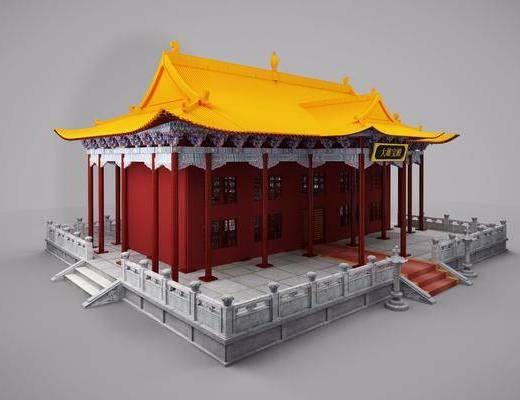 古建寺庙, 公共建筑, 中式