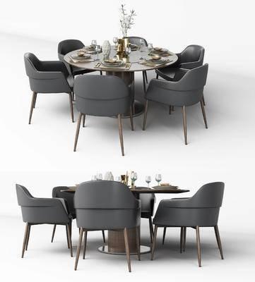 现代餐桌椅, 圆形餐桌, 椅子, 餐具, 花瓶