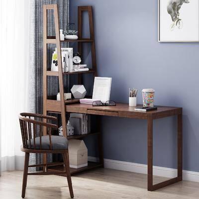 书架书桌, 桌椅组合, 摆件组合, 书椅饰品, 现代