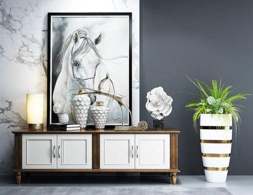 美式电视柜, 电视柜, 装饰画, 挂画, 盆栽, 花瓶, 摆件, 陈设品, 摆设