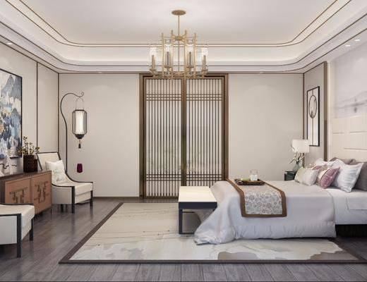 卧室, 新中式卧室, 床具组合, 床头柜, 双人床, 床尾踏, 吊灯, 单椅, 装饰柜, 摆件组合, 装饰品, 落地灯, 新中式