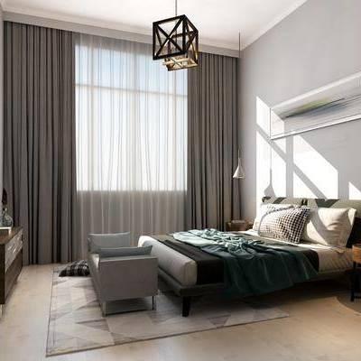 卧室, 现代, 床, 吊灯, 边几, 电视柜, 床尾凳