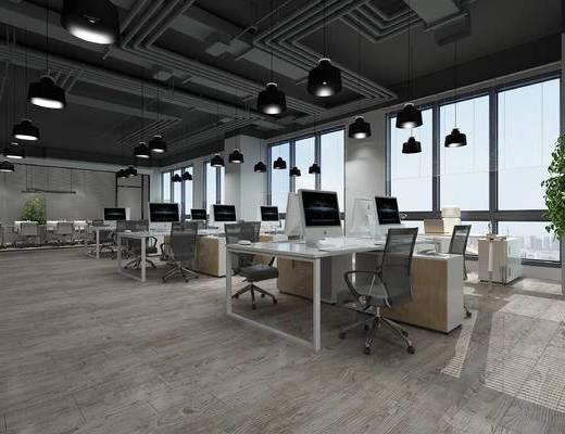现代, 办公室, 办公桌, 办公椅, 灯具