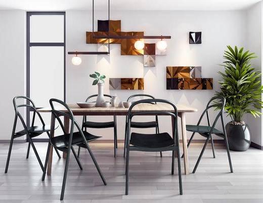 餐桌, 吊燈, 桌椅組合, 餐具組合, 墻飾