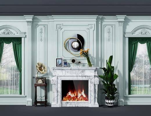 背景墙, 壁炉, 盆栽, 装饰品, 陈设品, 墙饰, 欧式