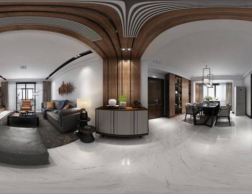 现代客餐厅, 客餐厅, 客厅, 现代客厅