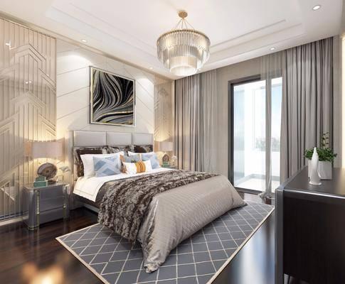 卧室, 双人床, 床头柜, 吊灯, 装饰画, 挂画, 台灯, 摆件, 装饰品, 陈设品, 后现代