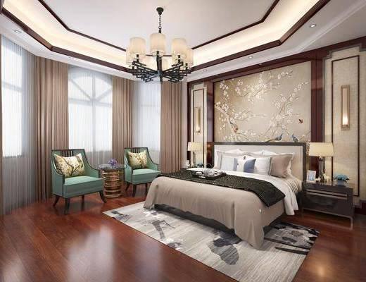 新中式卧室, 中式床, 中式床头柜, 中式背景, 中式吊灯, 椅子