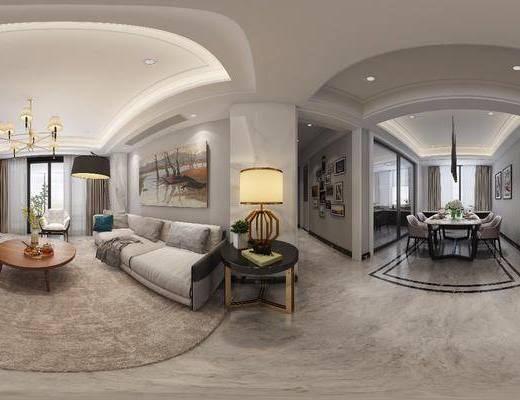 客厅, 餐厅, 家装全景, 多人沙发, 单人沙发, 边几, 台灯, 茶几, 落地灯, 吊灯, 餐桌, 餐椅, 餐具, 装饰画, 挂画, 现代