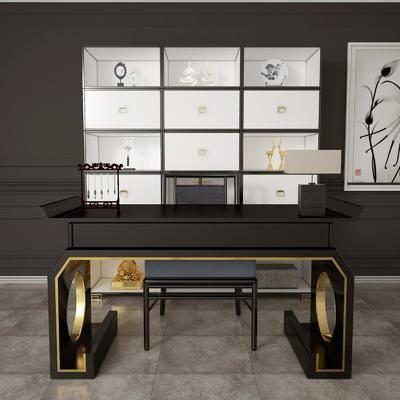 书桌, 桌子, 椅子, 单椅, 装饰柜, 置物柜, 陈设品, 摆件, 台灯