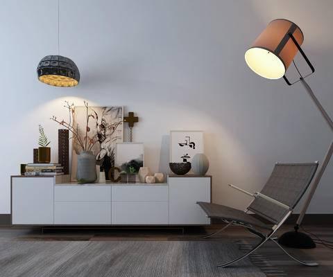 现代, 电视柜, 灯具, 休闲椅, 装饰品
