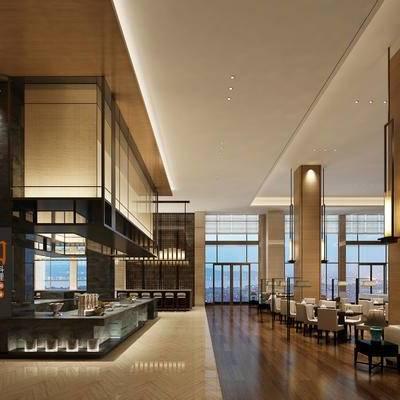 现代, 酒店, 自助餐厅, 自助餐, 餐桌椅, 桌椅组合, 椅子, 吊灯, 落地灯