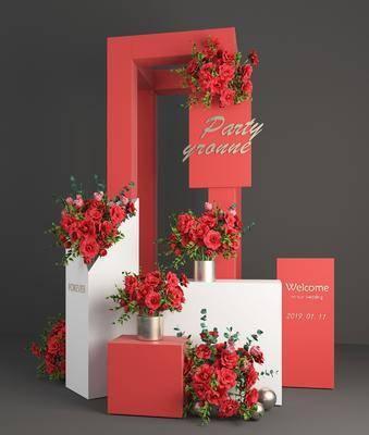 摆件组合, 现代花瓶花卉, 现代摆件组合, 婚庆, 花艺, 现代