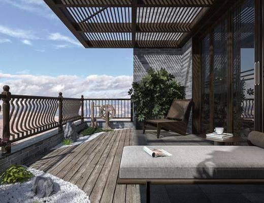 中式, 阳台, 露台