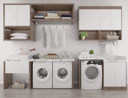 洗衣机组合, 装饰柜, 现代