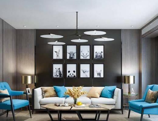 现代客厅, 现代沙发组合, 装饰画, 现代吊灯, 茶几, 现代金属台灯