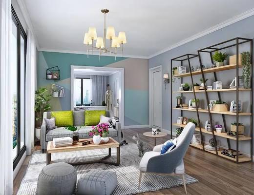 北欧起居室, 北欧客厅, 双人沙发, 吊灯, 茶几, 装饰架, 盆景, 软垫, 壁灯