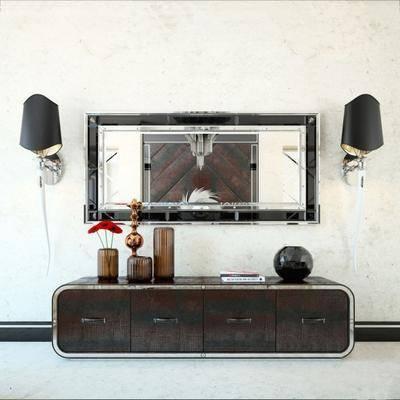 地柜, 矮柜, 壁灯, 装饰镜, 现代