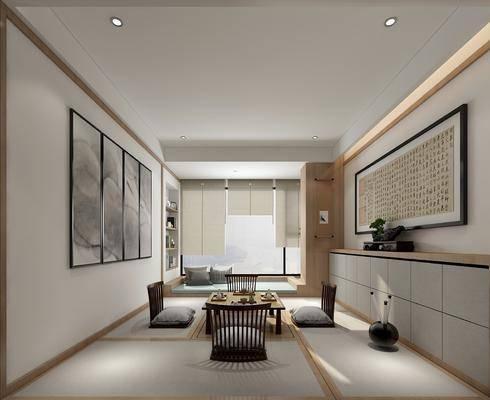 茶室, 装饰画, 挂画, 单人椅, 边柜, 装饰柜, 茶几, 新中式
