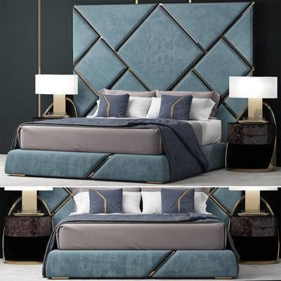 双人床, 床头柜, 床头灯, 床背板, 地毯, 床具组合, 现代, 后现代