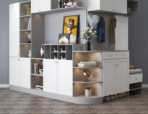 装饰柜, 鞋柜, 摆件组合, 饰品, 鞋子, 现代