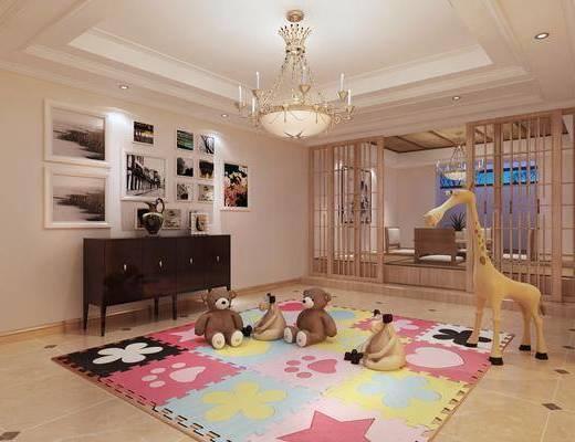休闲室, 边柜, 玩具, 吊灯, 沙发组合, 装饰画, 盆栽
