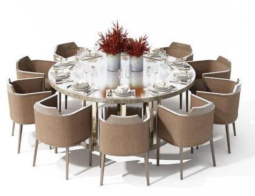 新中式, 圆桌, 餐桌, 花瓶, 装饰品, 椅子, 单椅, 餐具, 杯子, 高脚杯