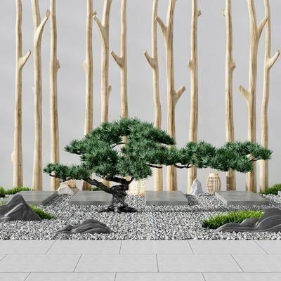 庭院陽臺, 鵝卵石, 樹木, 綠植植物, 園藝小品, 新中式